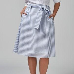 LANE BRYANT Striped Circle Skirt Blue White sz 14
